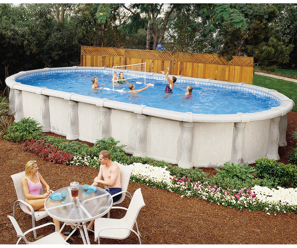 Aqua quip doughboy tuscany above ground swimming pool for In ground pool companies